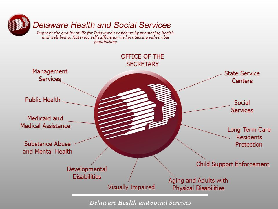 Delaware Health and Social Services OFFICE OF THE SECRETARY State Service Centers Social Services Aging and Adults with Physical Disabilities Substanc