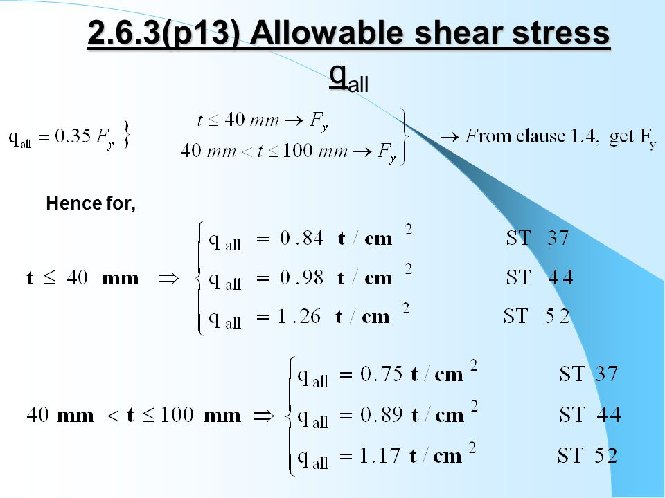 2.6.3(p13) Allowable shear stress q 2.6.3(p13) Allowable shear stress q all Hence for,