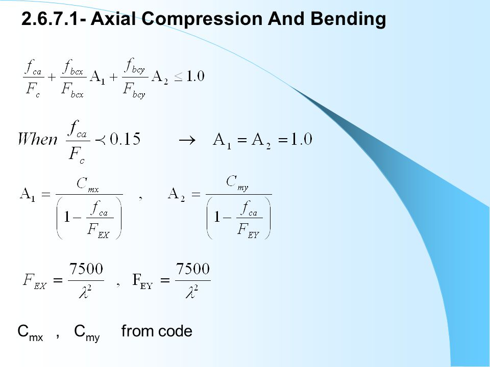 2.6.7.1- Axial Compression And Bending C mx, C my from code