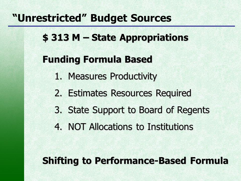 """""""Unrestricted"""" Budget Sources $ 313 M – State Appropriations Funding Formula Based 1.Measures Productivity 2.Estimates Resources Required 3.State Supp"""