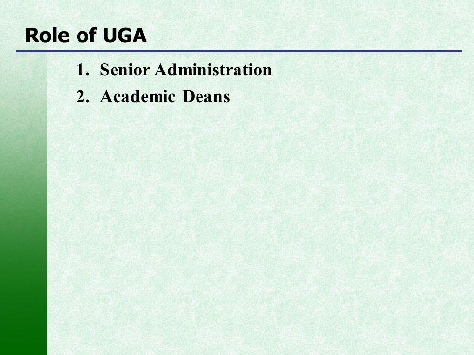 1.Senior Administration 2.Academic Deans Role of UGA