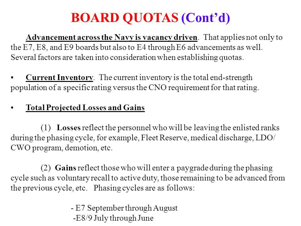 BOARD QUOTAS (Cont'd) Advancement across the Navy is vacancy driven.