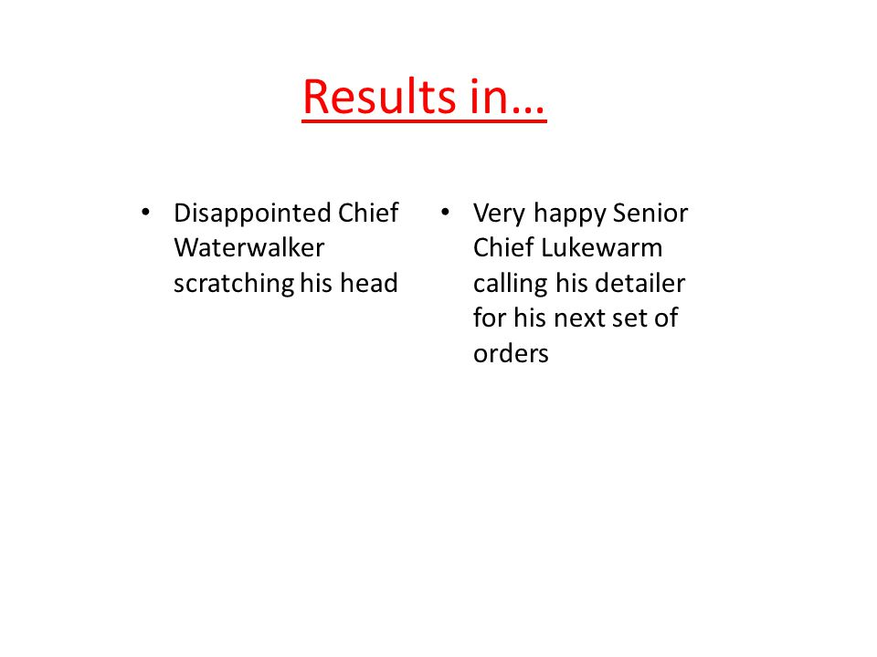 Results in… Disappointed Chief Waterwalker scratching his head Very happy Senior Chief Lukewarm calling his detailer for his next set of orders