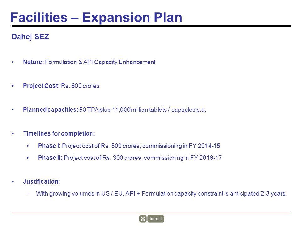Dahej SEZ Nature: Formulation & API Capacity Enhancement Project Cost: Rs.