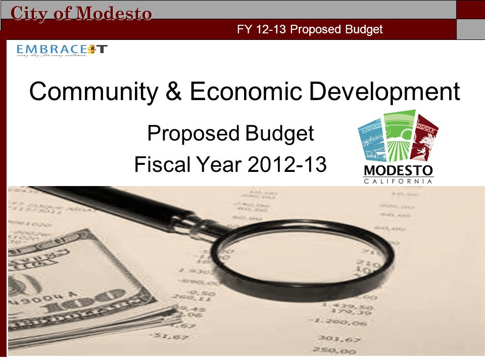 City of Modesto FY 11-12 Proposed Budget Community & Economic Development Proposed Budget Fiscal Year 2012-13 FY 12-13 Proposed Budget