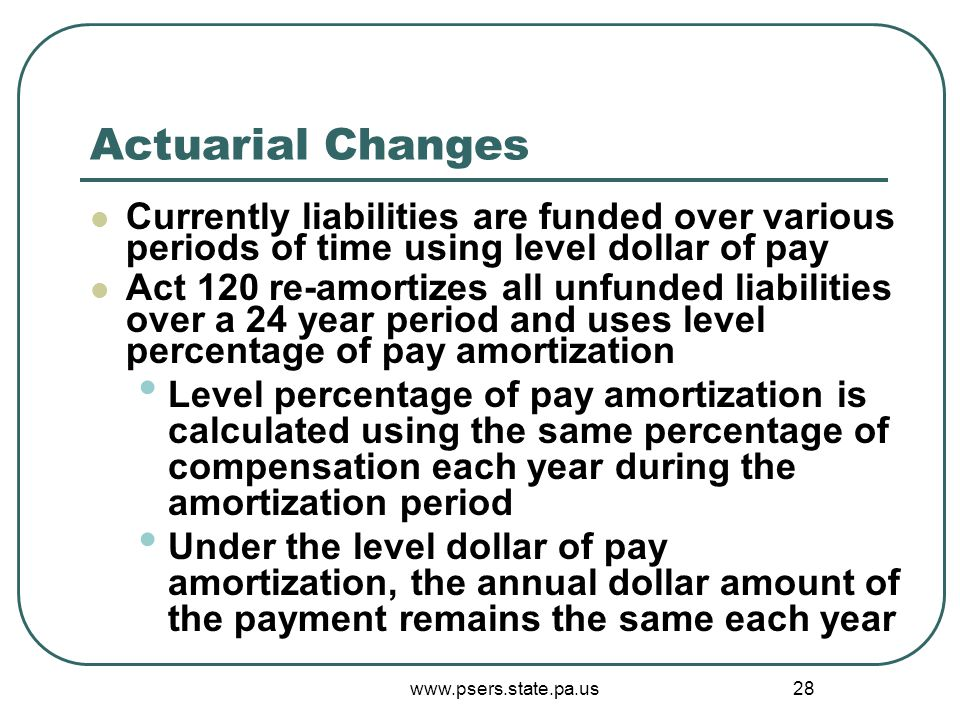 www.psers.state.pa.us 28 Actuarial Changes Currently liabilities are funded over various periods of time using level dollar of pay Act 120 re-amortizes all unfunded liabilities over a 24 year period and uses level percentage of pay amortization Level percentage of pay amortization is calculated using the same percentage of compensation each year during the amortization period Under the level dollar of pay amortization, the annual dollar amount of the payment remains the same each year