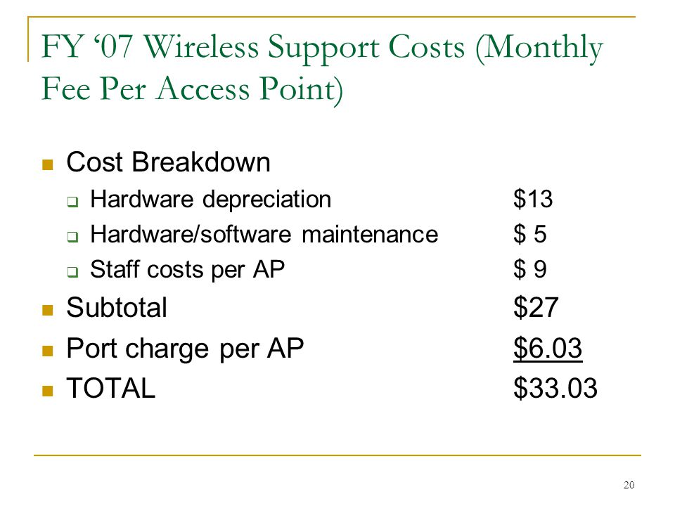 20 FY '07 Wireless Support Costs (Monthly Fee Per Access Point) Cost Breakdown  Hardware depreciation $13  Hardware/software maintenance $ 5  Staff costs per AP $ 9 Subtotal $27 Port charge per AP$6.03 TOTAL$33.03
