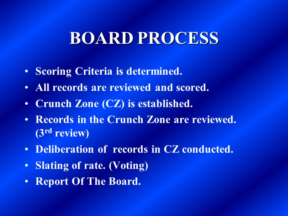 BOARD PROCESS Scoring Criteria is determined. All records are reviewed and scored. Crunch Zone (CZ) is established. Records in the Crunch Zone are rev
