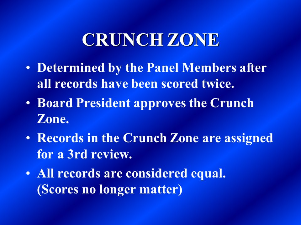 CRUNCH ZONE Determined by the Panel Members after all records have been scored twice. Board President approves the Crunch Zone. Records in the Crunch