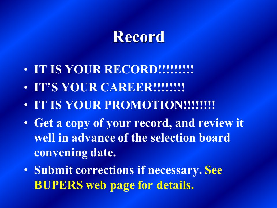 Record IT IS YOUR RECORD!!!!!!!!.IT'S YOUR CAREER!!!!!!!.