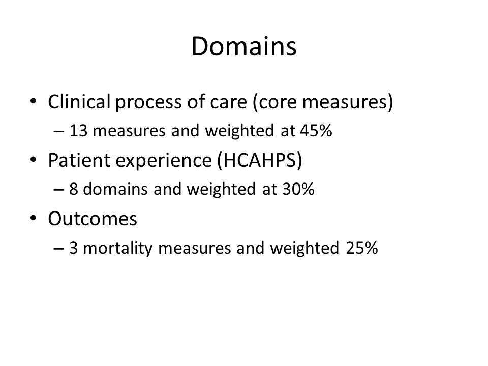 Domains Clinical process of care (core measures) – 13 measures and weighted at 45% Patient experience (HCAHPS) – 8 domains and weighted at 30% Outcomes – 3 mortality measures and weighted 25%