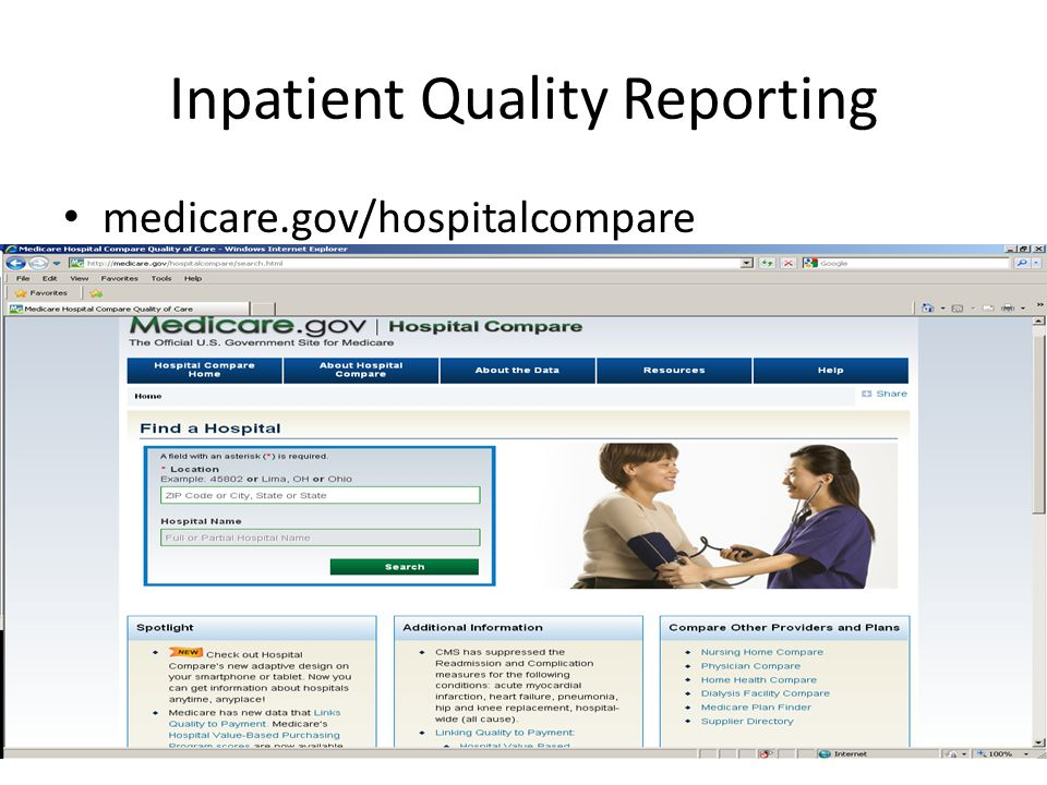 Inpatient Quality Reporting medicare.gov/hospitalcompare