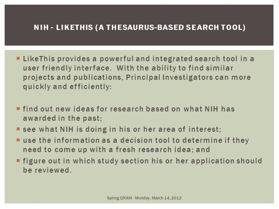  LikeThis provides a powerful and integrated search tool in a user friendly interface.