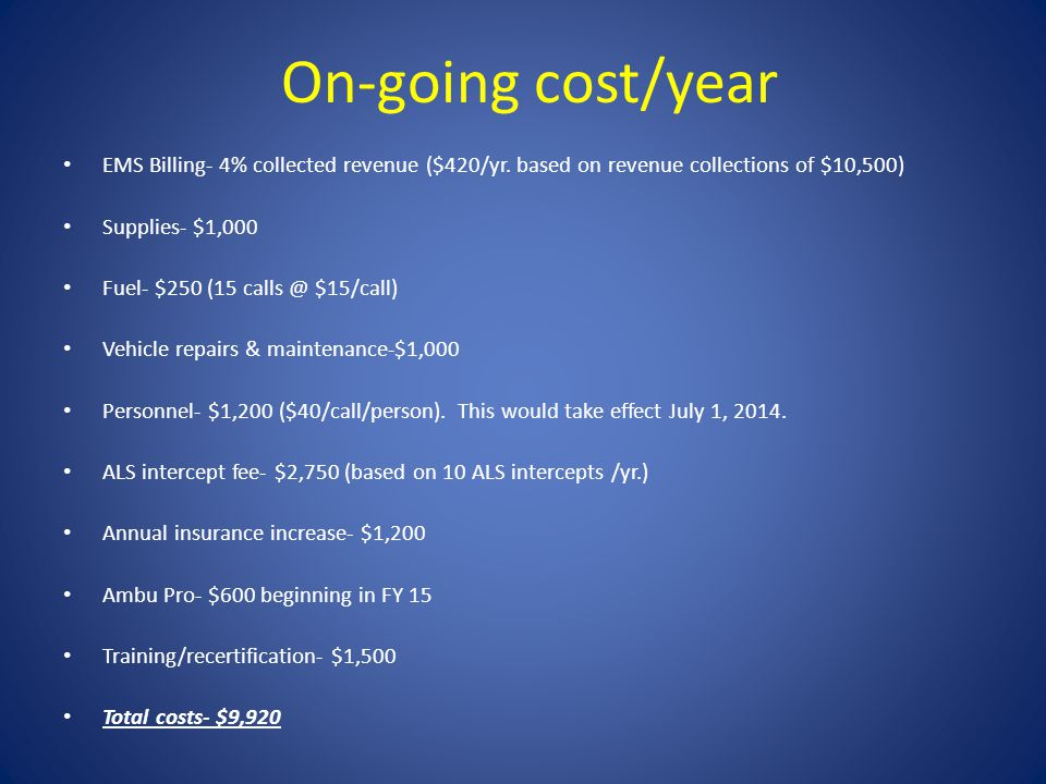 On-going cost/year EMS Billing- 4% collected revenue ($420/yr.