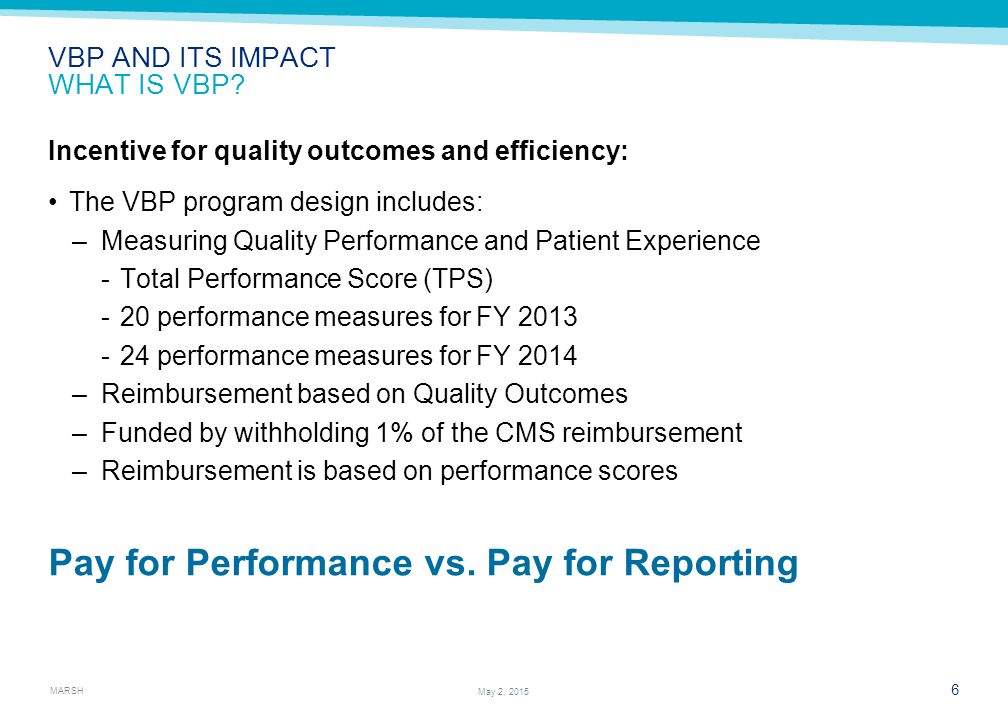 MARSH 17 May 2, 2015 HEALTHCHECK-2014 AND BEYOND FY 2014 MEASURES AND ITS IMPACT Source: CMS official VBP web site.