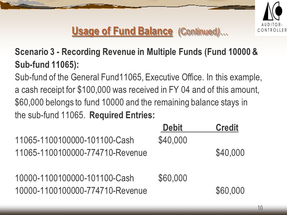 9  Since the department has to expend out of fund 10000, the following entries are to be recorded by ACO once the Form-11 is approved.