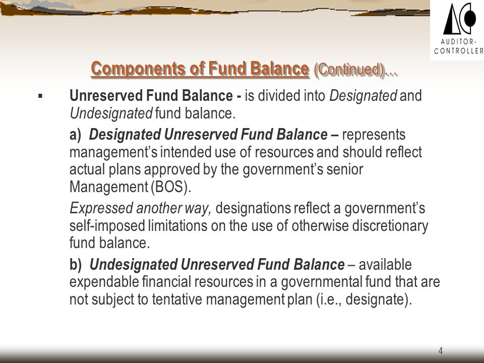 3 Components of Fund Balance Fund balance is divided into the following components:  Reserved  Unreserved a.