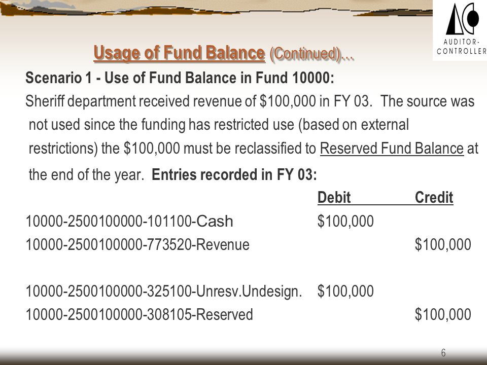 5 Usage of Fund Balance Fund balance serves as a measure of current available financial resources.