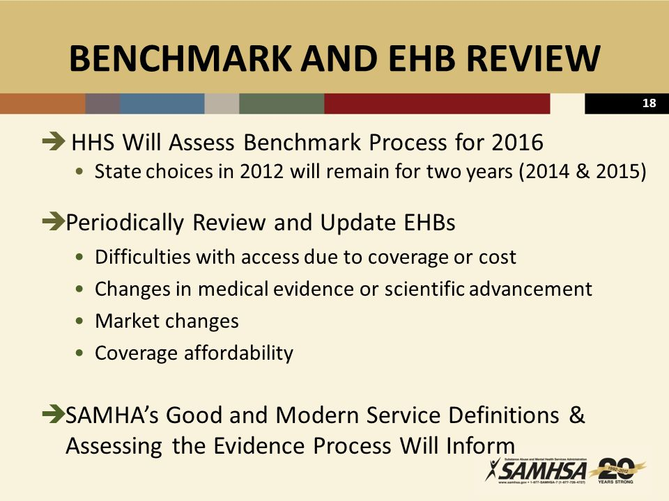 18 BENCHMARK AND EHB REVIEW  HHS Will Assess Benchmark Process for 2016 State choices in 2012 will remain for two years (2014 & 2015)  Periodically Review and Update EHBs Difficulties with access due to coverage or cost Changes in medical evidence or scientific advancement Market changes Coverage affordability  SAMHA's Good and Modern Service Definitions & Assessing the Evidence Process Will Inform
