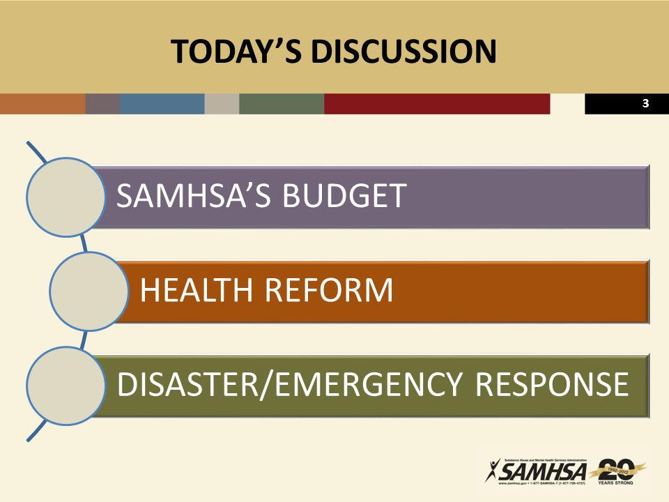3 TODAY'S DISCUSSION SAMHSA'S BUDGET HEALTH REFORM DISASTER/EMERGENCY RESPONSE