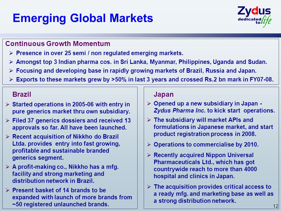 12 Emerging Global Markets Brazil  Started operations in 2005-06 with entry in pure generics market thru own subsidiary.
