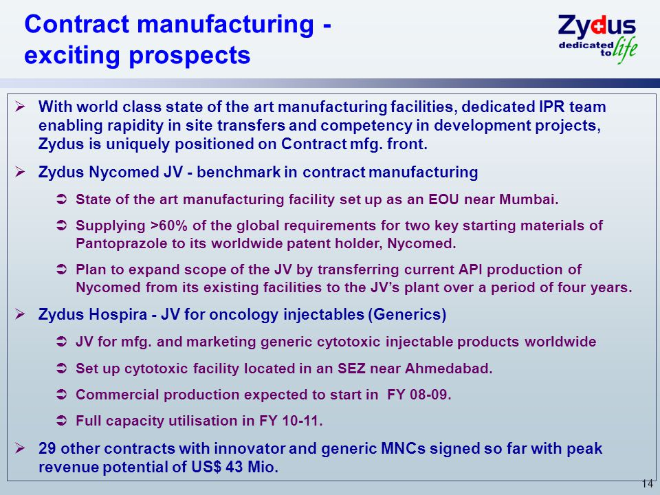 14  With world class state of the art manufacturing facilities, dedicated IPR team enabling rapidity in site transfers and competency in development projects, Zydus is uniquely positioned on Contract mfg.