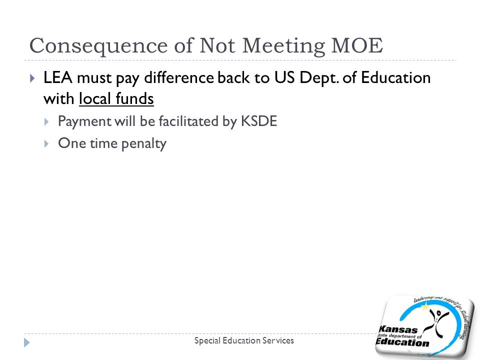 Consequence of Not Meeting MOE Special Education Services  LEA must pay difference back to US Dept. of Education with local funds  Payment will be f