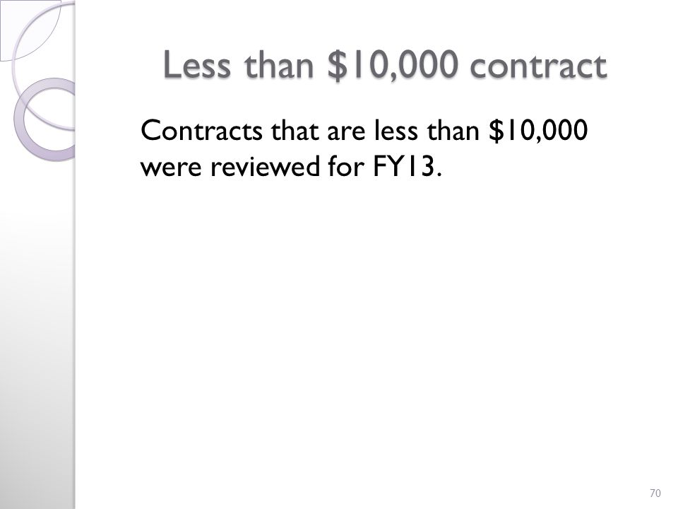 Less than $10,000 contract Contracts that are less than $10,000 were reviewed for FY13. 70