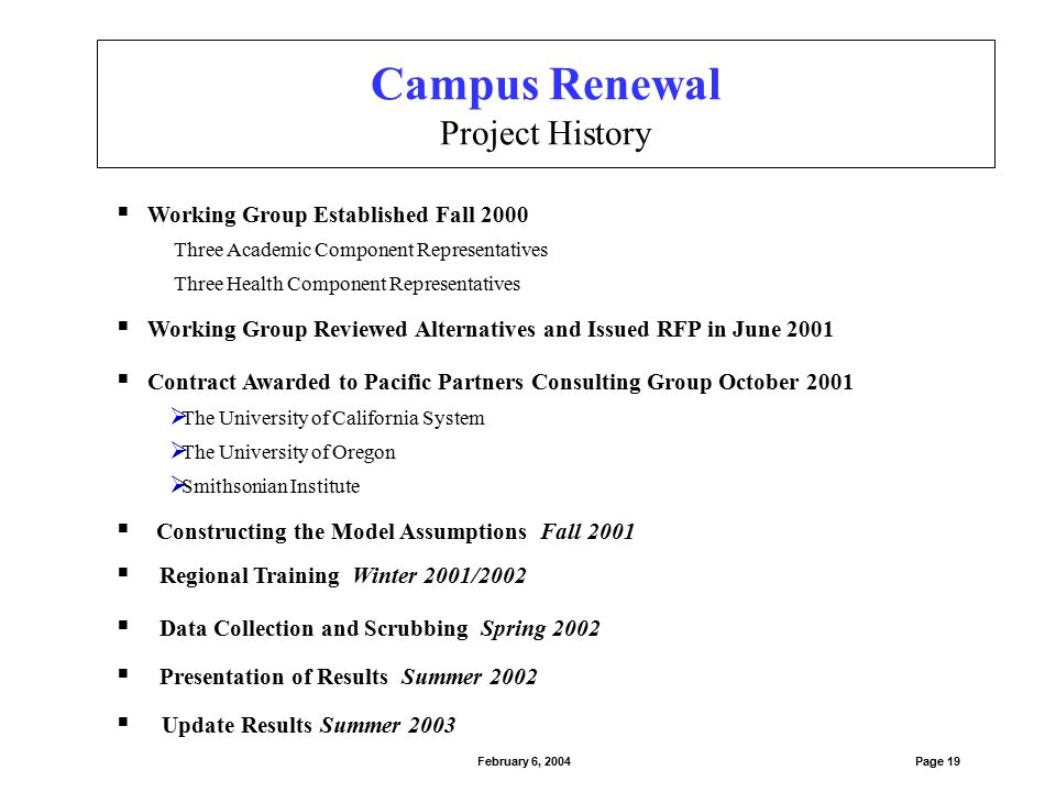  Project annual funding requirements for ongoing renewal  Project funding requirements of current backlog Statistical Model to:  Allow facility staff to better predict and plan capital renewal projects  Provide a consistent assessment tool to monitor facility conditions over time  Allow facility staff to maintain and update the model with reasonable effort Campus Renewal Project Goals Page 20February 6, 2004