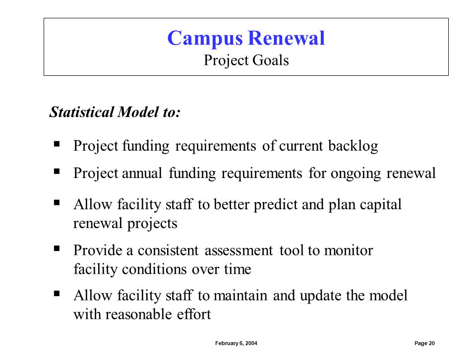  Project annual funding requirements for ongoing renewal  Project funding requirements of current backlog Statistical Model to:  Allow facility sta