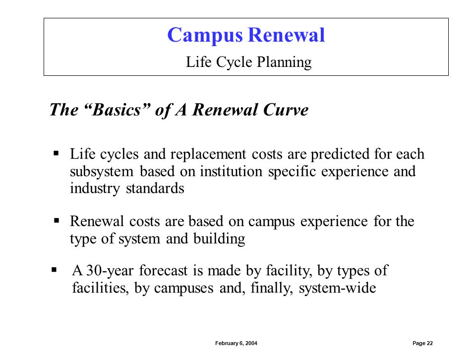 "The ""Basics"" of A Renewal Curve  A 30-year forecast is made by facility, by types of facilities, by campuses and, finally, system-wide  Life cycles"