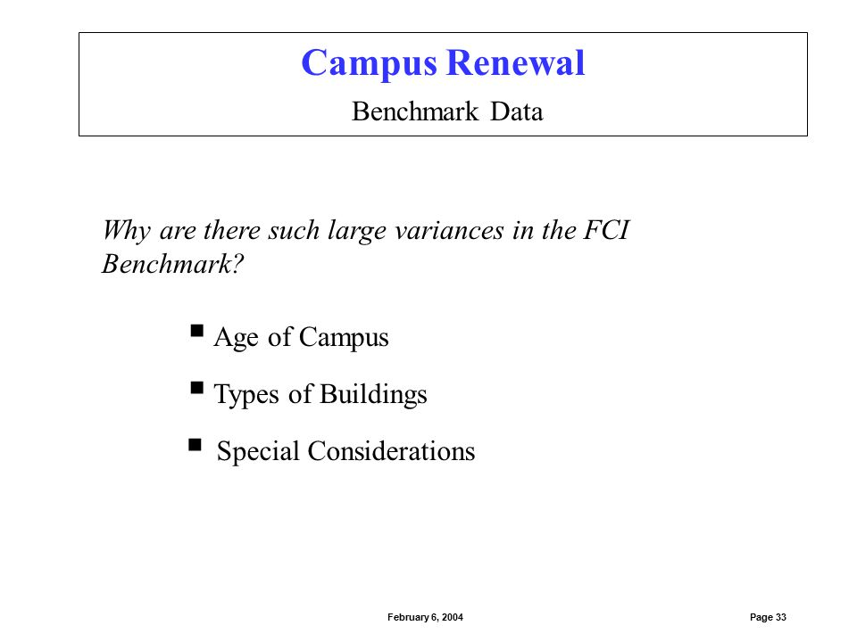 Campus Renewal Comparison of 2002-2003 Model Results Page 34February 6, 2004