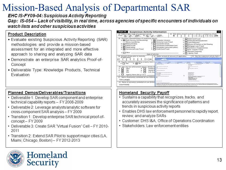 13 Mission-Based Analysis of Departmental SAR Planned Demos/Deliverables/Transitions Deliverable 1: Develop SAR component and enterprise technical cap
