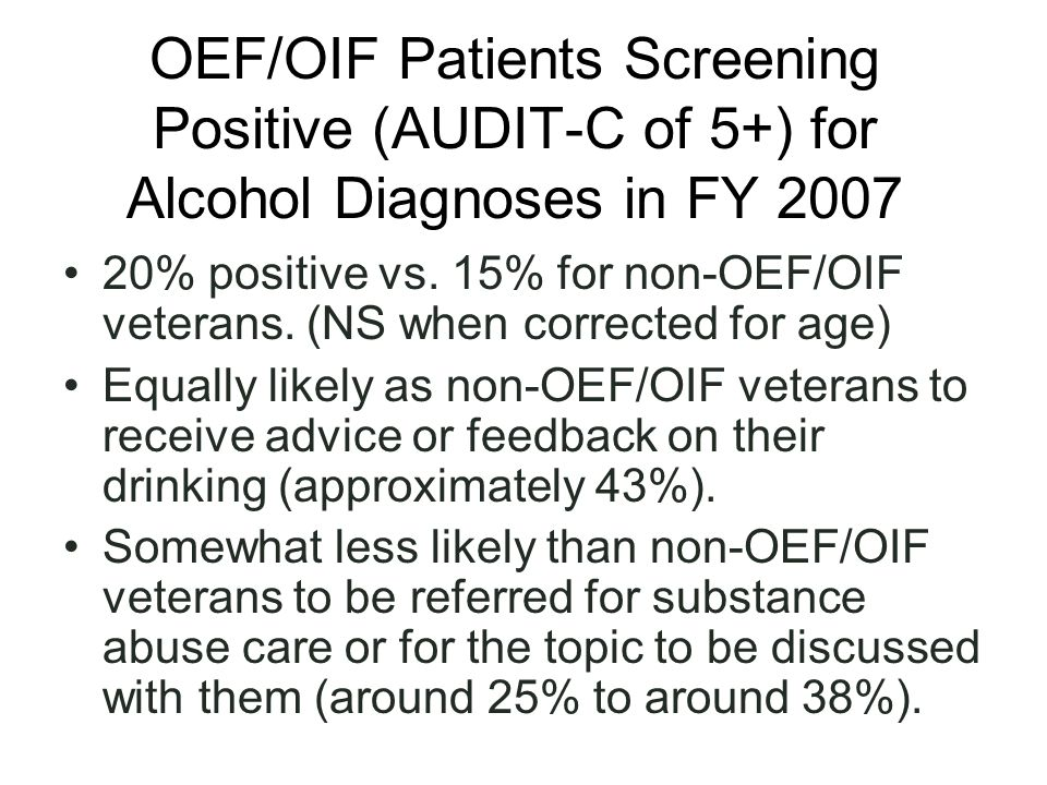 OEF/OIF Patients Screening Positive (AUDIT-C of 5+) for Alcohol Diagnoses in FY 2007 20% positive vs.