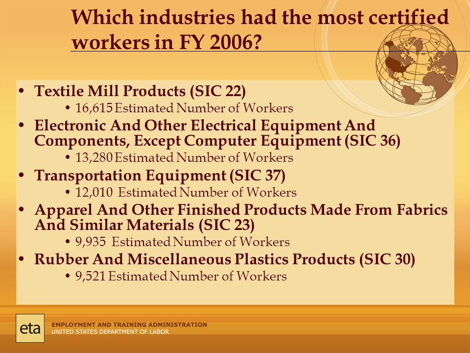 Which industries had the most certified workers in FY 2006.