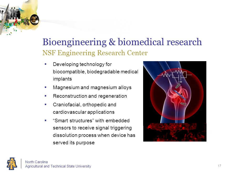 North Carolina Agricultural and Technical State University Bioengineering & biomedical research NSF Engineering Research Center  Developing technology for biocompatible, biodegradable medical implants  Magnesium and magnesium alloys  Reconstruction and regeneration  Craniofacial, orthopedic and cardiovascular applications  Smart structures with embedded sensors to receive signal triggering dissolution process when device has served its purpose 17