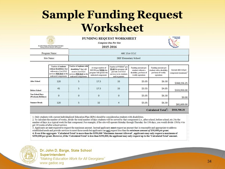 "Dr. John D. Barge, State School Superintendent ""Making Education Work for All Georgians"" www.gadoe.org Sample Funding Request Worksheet 34"