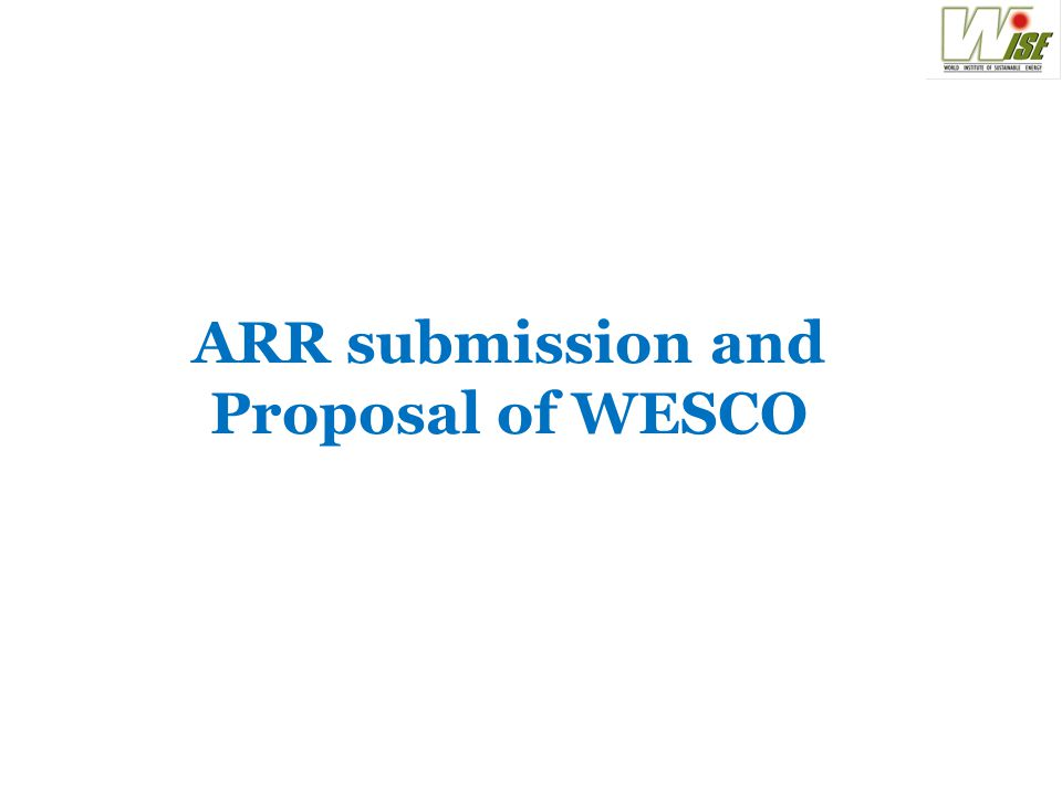 ARR submission and Proposal of WESCO