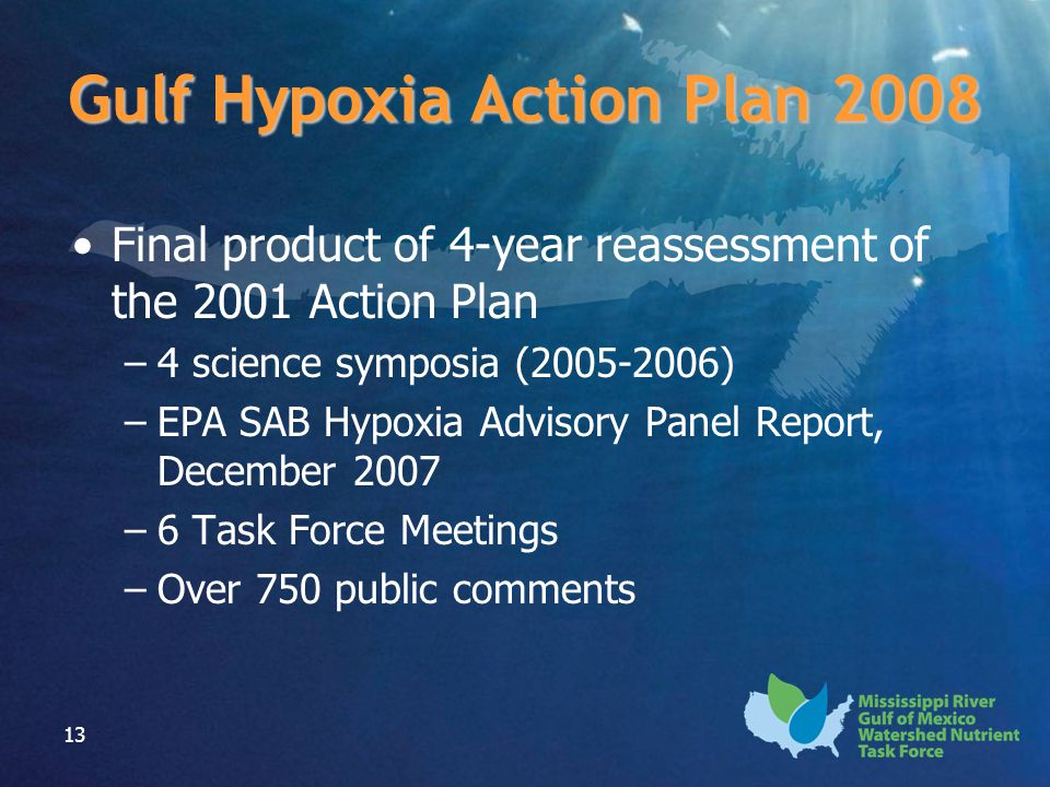 13 Gulf Hypoxia Action Plan 2008 Final product of 4-year reassessment of the 2001 Action Plan –4 science symposia (2005-2006) –EPA SAB Hypoxia Advisor