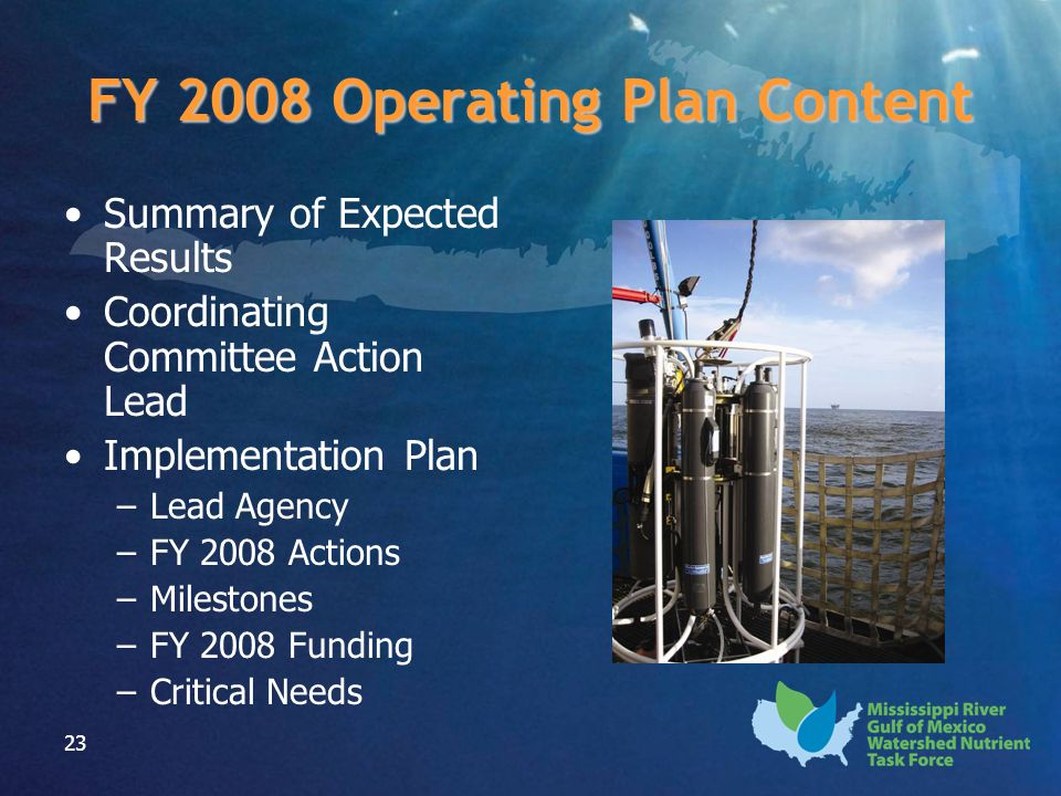 23 FY 2008 Operating Plan Content Summary of Expected Results Coordinating Committee Action Lead Implementation Plan –Lead Agency –FY 2008 Actions –Milestones –FY 2008 Funding –Critical Needs