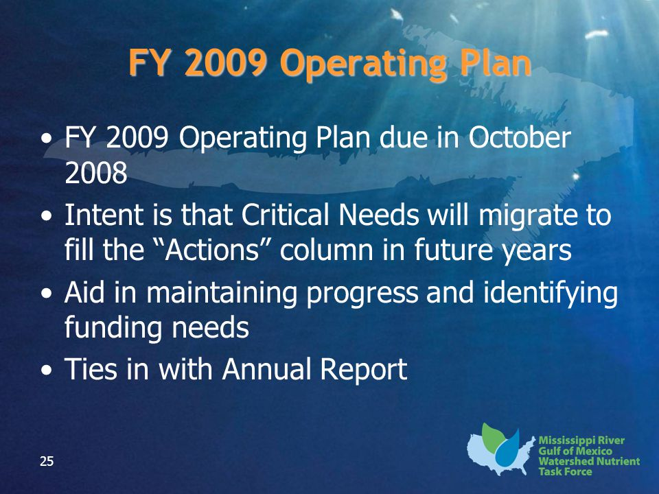 "25 FY 2009 Operating Plan FY 2009 Operating Plan due in October 2008 Intent is that Critical Needs will migrate to fill the ""Actions"" column in future"