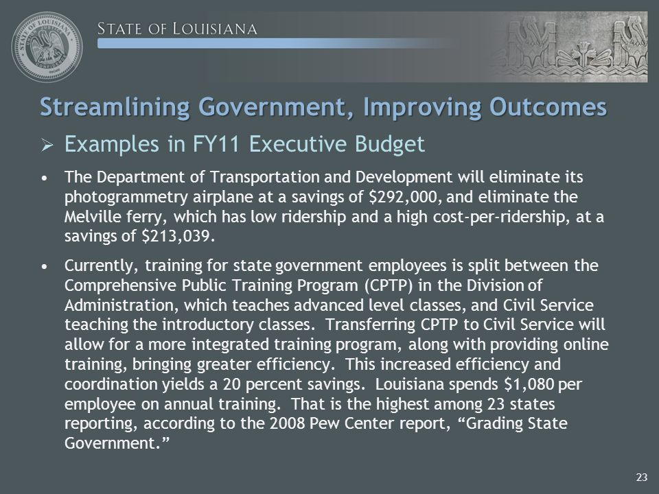 Streamlining Government, Improving Outcomes  Examples in FY11 Executive Budget The Department of Transportation and Development will eliminate its photogrammetry airplane at a savings of $292,000, and eliminate the Melville ferry, which has low ridership and a high cost-per-ridership, at a savings of $213,039.