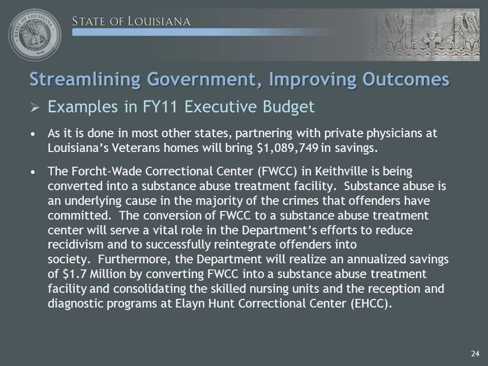 24 Streamlining Government, Improving Outcomes  Examples in FY11 Executive Budget As it is done in most other states, partnering with private physicians at Louisiana's Veterans homes will bring $1,089,749 in savings.