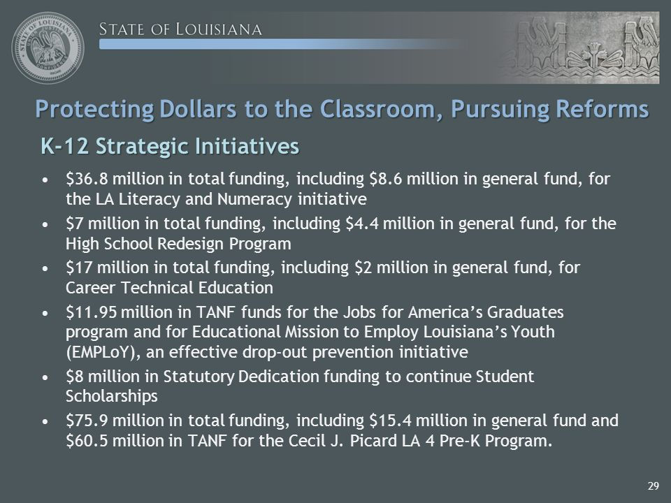 29 Protecting Dollars to the Classroom, Pursuing Reforms K-12 Strategic Initiatives $36.8 million in total funding, including $8.6 million in general