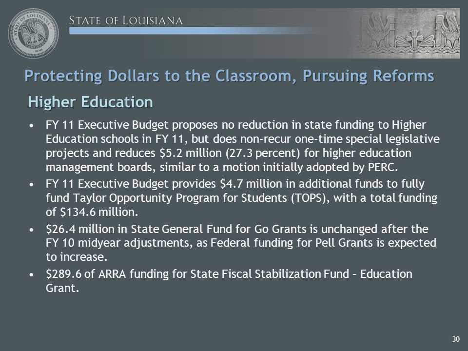 30 Protecting Dollars to the Classroom, Pursuing Reforms Higher Education FY 11 Executive Budget proposes no reduction in state funding to Higher Education schools in FY 11, but does non-recur one-time special legislative projects and reduces $5.2 million (27.3 percent) for higher education management boards, similar to a motion initially adopted by PERC.