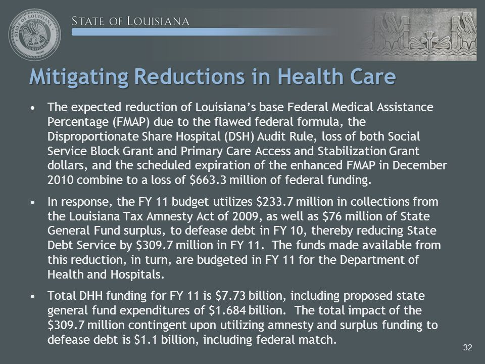 Mitigating Reductions in Health Care The expected reduction of Louisiana's base Federal Medical Assistance Percentage (FMAP) due to the flawed federal formula, the Disproportionate Share Hospital (DSH) Audit Rule, loss of both Social Service Block Grant and Primary Care Access and Stabilization Grant dollars, and the scheduled expiration of the enhanced FMAP in December 2010 combine to a loss of $663.3 million of federal funding.