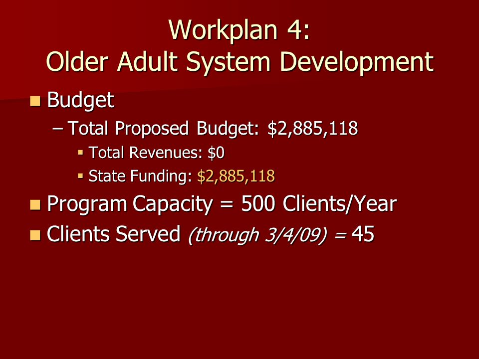 Workplan 4: Older Adult System Development Budget Budget –Total Proposed Budget: $2,885,118  Total Revenues: $0  State Funding: $2,885,118 Program Capacity = 500 Clients/Year Program Capacity = 500 Clients/Year Clients Served (through 3/4/09) = 45 Clients Served (through 3/4/09) = 45