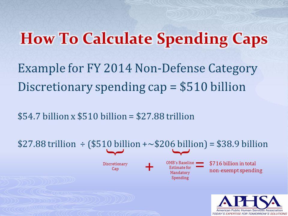 Example for FY 2014 Non-Defense Category Discretionary spending cap = $510 billion $54.7 billion x $510 billion = $27.88 trillion $27.88 trillion ÷ ($510 billion +~$206 billion) = $38.9 billion Discretionary Cap OMB's Baseline Estimate for Mandatory Spending {{ + = $716 billion in total non-exempt spending
