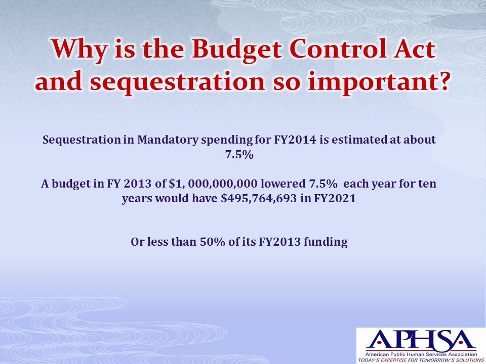 Sequestration in Mandatory spending for FY2014 is estimated at about 7.5% A budget in FY 2013 of $1, 000,000,000 lowered 7.5% each year for ten years would have $495,764,693 in FY2021 Or less than 50% of its FY2013 funding