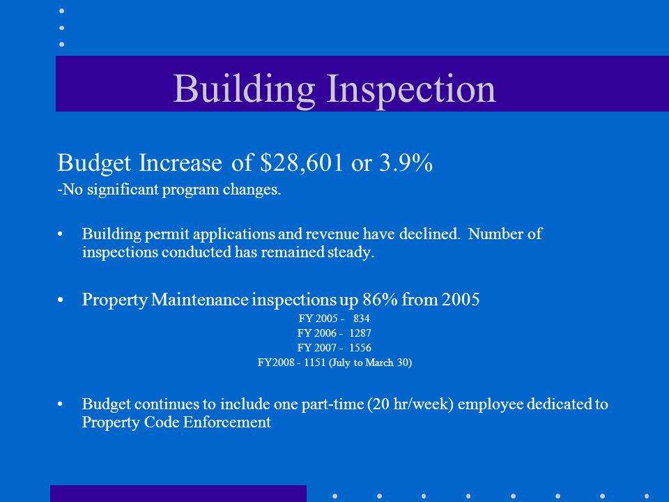 Building Inspection Budget Increase of $28,601 or 3.9% -No significant program changes.
